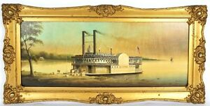 Sidewheel Miss. Steamboat Eclipse Painting By Brian Coole (1939-) Rare Subject