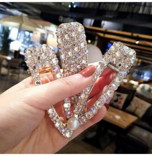 Elegant Crystal Rhinestone Barrettes Hair Clip Pearl Hairpin Headdress Women New