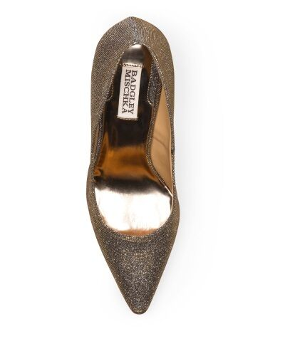 BADGLEY MISCHKA Sparkly Gold Glitter Fabric Pump Schuhe 9.5 MSRP 295 NEW