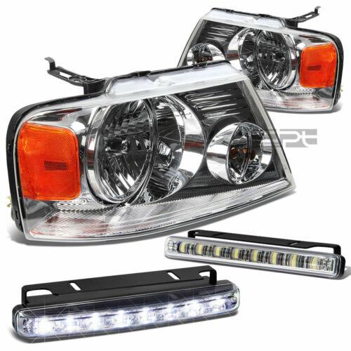 LED FOG LIGHT+CLEAR LENS CHROME HOUSING HEADLIGHT//HEADLAMP FITS 04-08 FORD F150