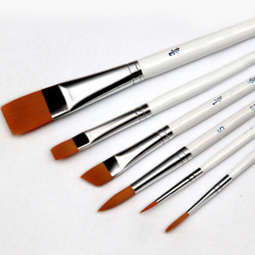 6Pcs Professional Painting Acrylic Oil Watercolors Artist Paint Brushes