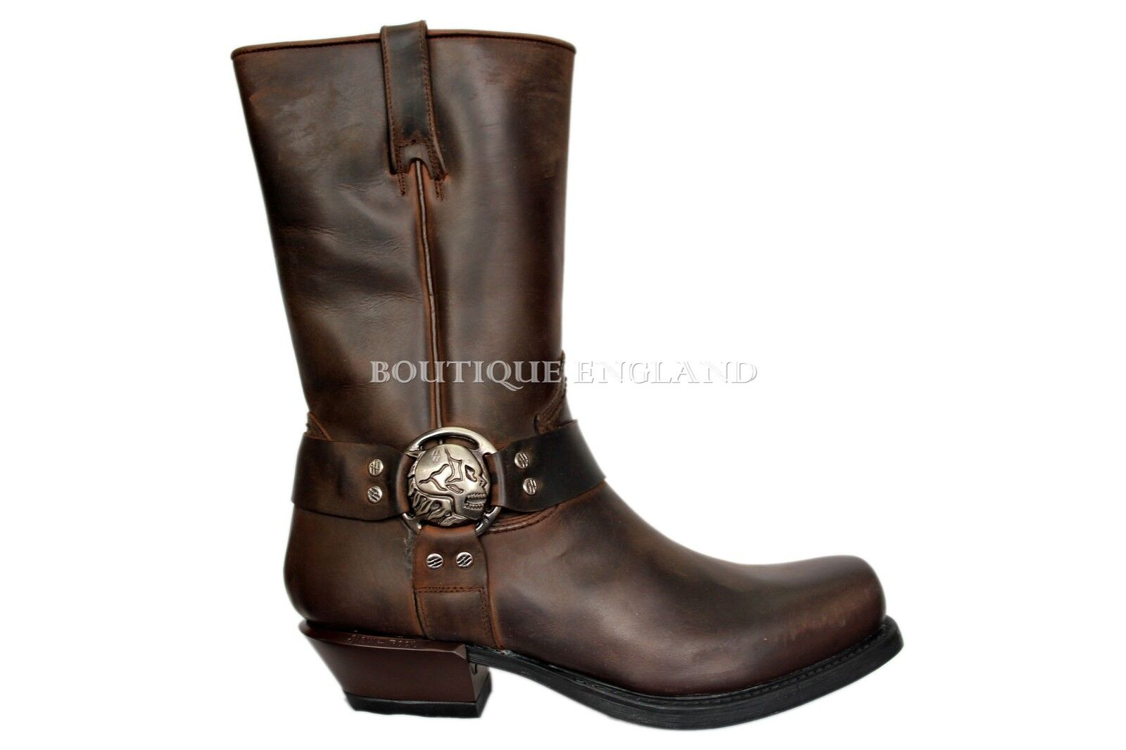 NEWROCK New Rock M.7965 Brown Western Cowboy Gothic Biker Leather Boots shoes