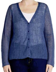 Eileen Fisher Plus V-Neck Italian Linen Cardigan Denim 1X NWT  258