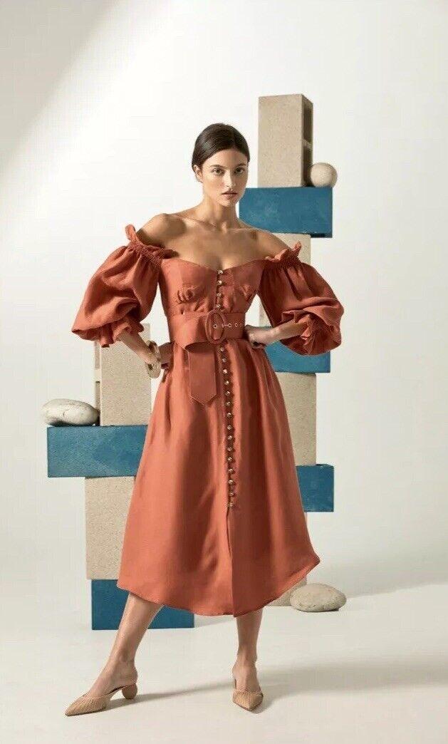 CULT Gaia Simona fuera del hombro vestido Midi terracota  pequeñas  precios razonables