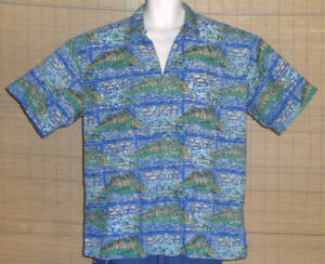 Kahala-AVI-Hawaiian-Shirt-Blue-Green-Tan-Sailfish-Size-XL