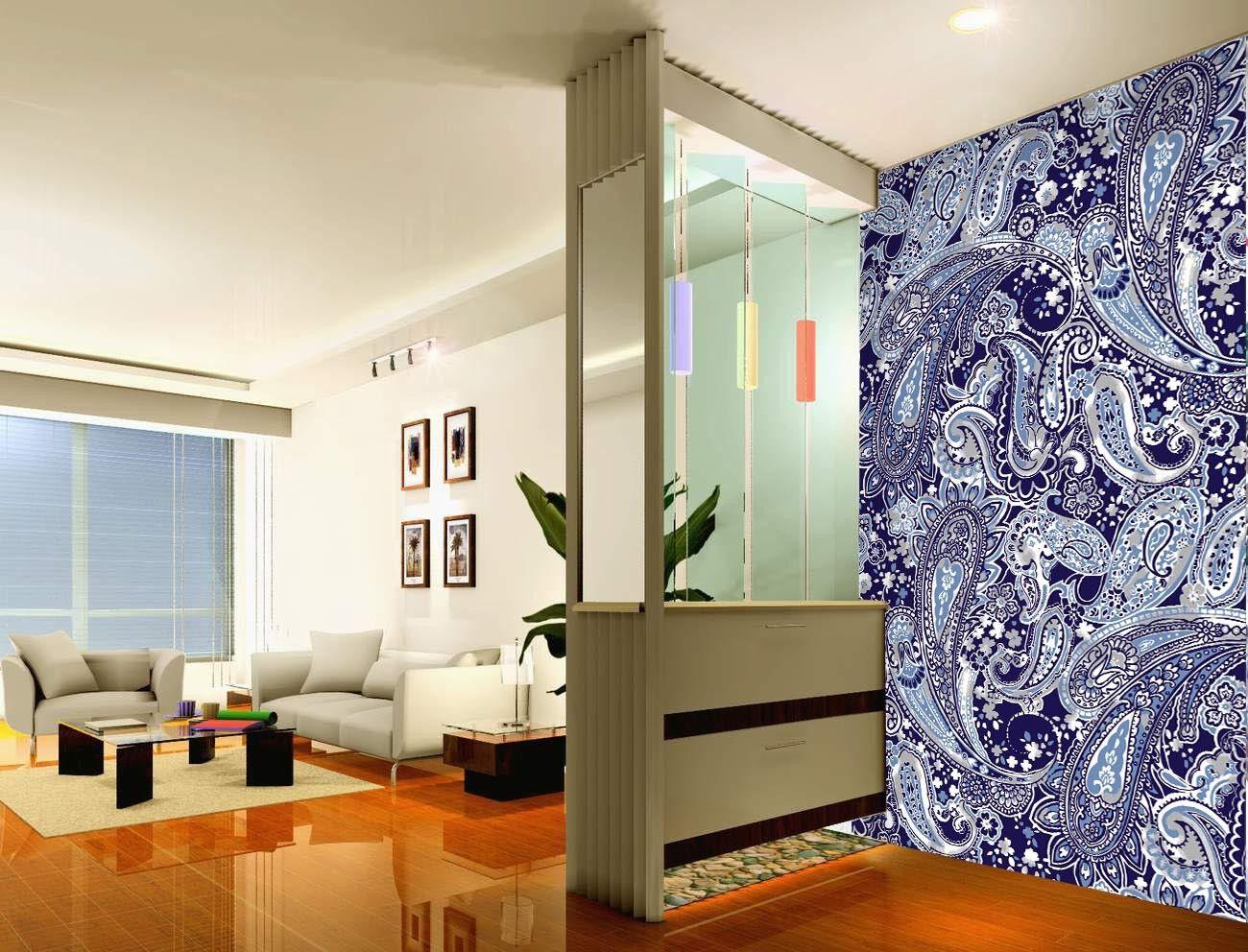 3D Blau Pattern 77 Wallpaper Mural Paper Wall Print Wallpaper Murals UK Lemon