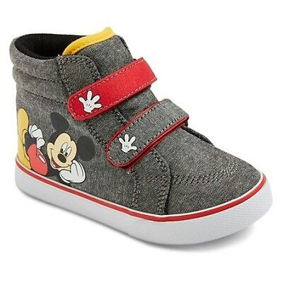 Mickey Mouse Shoes Toddler Kids Size 8 NWT Gray Black Sneakers Boy Girl