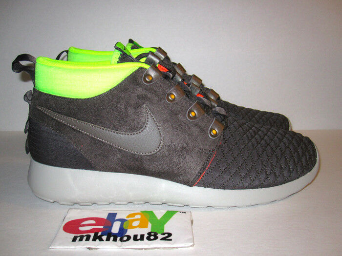 New Nike Roshe Run Rosherun Sneakerboot Gray Grey Neon fb Mid Top Shoes Size 10