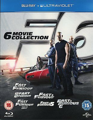 FAST AND FURIOUS 1-6 COMPLETE COLLECTION BLU-RAY 6-DISC BOX SET 1 2 3 4 5 6 NEW