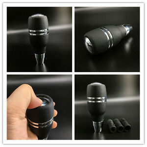 Black-Leather-Automatic-Gear-Stick-Shift-Knob-Universal-Car-Truck-Shifter-Lever