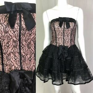 betsey johnson 2 black pink lace bow corset strapless