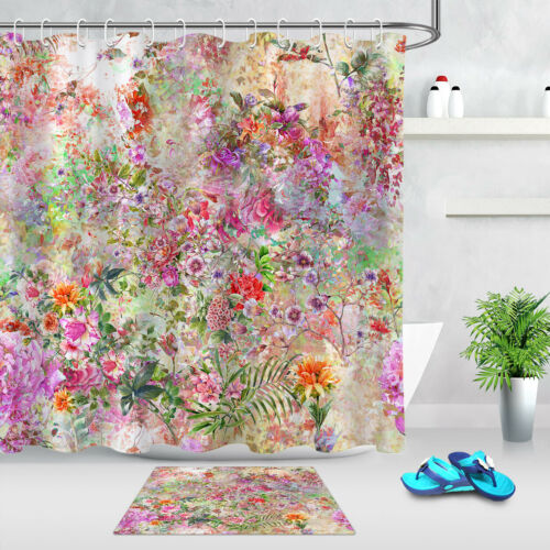 Colorful Watercolor Flowers Green Leaves Shower Curtain Bathroom Accessory Sets