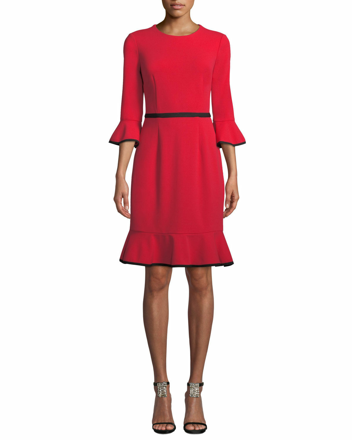 women Morgan Bell-Sleeve Piped Piped Piped Crepe Sheath Dress ( size 6 ) 7cb635