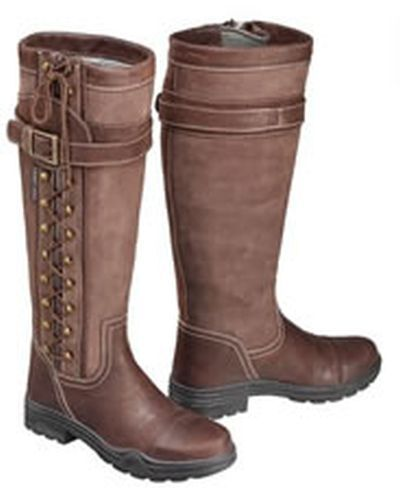 HARRY HALL LONG COUNTRY BOOTS OVERSTONE BROWN - SIZE 4 - HHL4411
