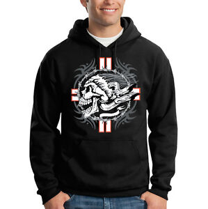 Cool Hoodie Hooded Sweatshirt Barbwire Cross Biker Chopper Skull Motorcycle RnwqZX8HC