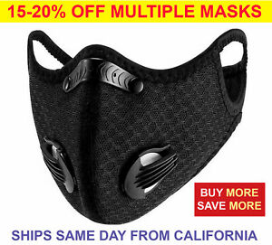 Black Reusable Dual Air Valve Cycling Sport Face Mask Cover PM2.5 Carbon Filter
