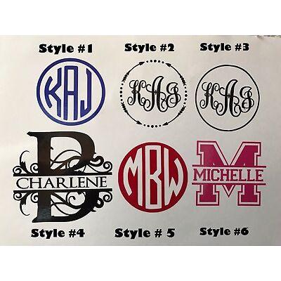 Custom monogram, split letter initial sticker decal.Yeti, tumbler, B2G1 Free!