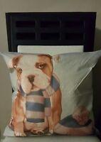 Darling Bulldog Dog Scarf & Cap Linen Throw Pillow Case Cover 18 Us Slr