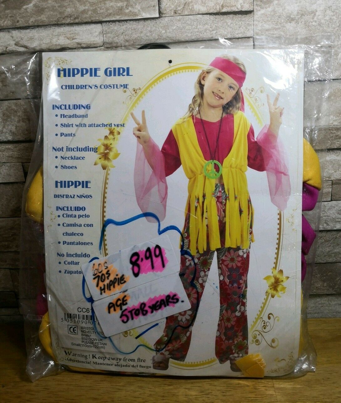 CHILDRENS HIPPIE GIRL FANCY DRESS COSTUME AGE 5 TO 8 BRAND NEW IN PACKET.