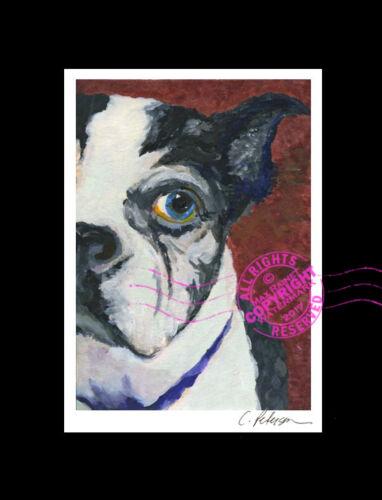 "My Darling Lulu 1997 FINE Art PRINT Boston Terrier DOG Black White SIGNED 5/""x7/"""
