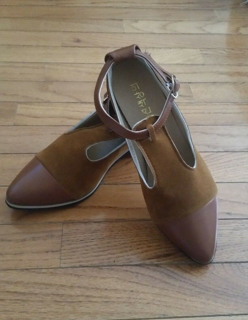 Asian made women's Fur and and and leather mixed shoes Wooden sole ankle strap 8 dfd1a6