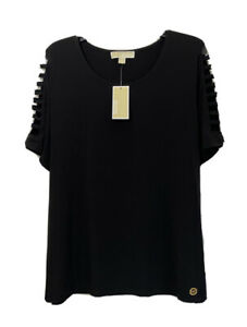 Michael-Kors-Womens-Plus-Size-1X-Top-Blouse-Cut-Out-Short-Sleeves-Stretch-78