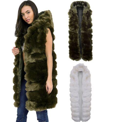 con pelliccia cappuccio aperta Giaccone pelliccia sintetica in donna per con foderata xEwpz4Sqp