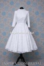 1593 short 50s 60s wedding dresses tea knee length pretty modest long sleeves