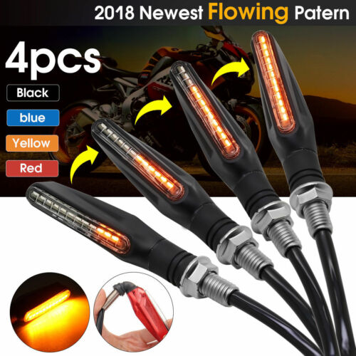 4x Motorcycle LED Turn Signal Lamp Sequential Flowing Indicator Light Amber EN