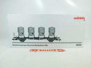 BQ223-4-Maerklin-Spur-1-Leerkarton-fuer-58555-Behaeltertragwagen-Haus-zu-Haus-DB