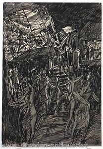 Hans-Jaeger-Tuschezeichnung-Auf-dem-Jahrmarkt-um-1900-Grafik-003-AA-Kunst