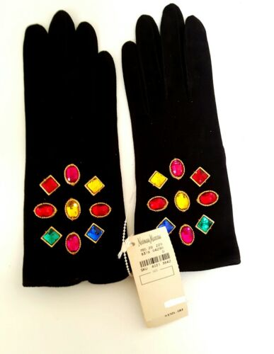 VTG NEW NEIMAN MARCUS SUEDE LEATHER WSILK LINED & CRYSTAL DECORATED GLOVES