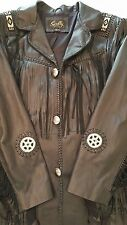 Men's Scully Black/Beaded Leather Western Jacket Fringe Beads Conchos Size 44