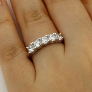 1-00-Ct-14K-Real-White-Gold-Five-5-Stones-Round-Wedding-Anniversary-Ring-Band