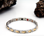 Authentic-Pur-life-Negative-Ion-Bracelet-ELEGANT-Stainless-amp-Gold-Steel-X-Style miniature 1