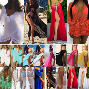 2d1345a8651 Women s Bikini Cover Up Swimwear Sheer Beach Maxi Wrap Skirts Sarong ...