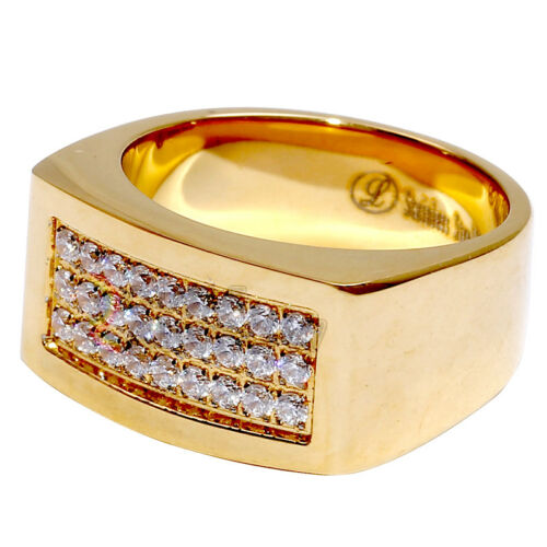 R2 Men/'s Stainless Steel Gold Silver Hip-Hop 3 rows CZ Iced Out Ring Size 8-13