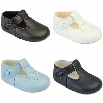 3752aee482a81 Details about Baby Baypods Boys Tradtional T Bar Early Years Christening  Wedding Baptism Shoes