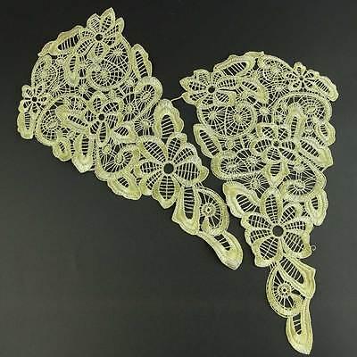 Ein Paar Polyester Spitze Ekrü Weiß Borten DIY Kleidung Nähen Handwerk