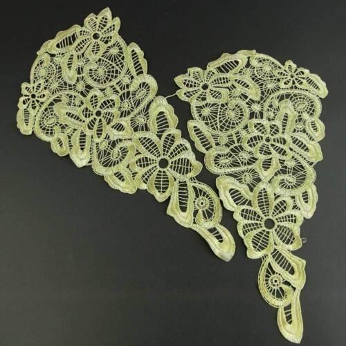 RABATT 1 Paar Venise Lace Damen Gold Blüten Spitzen Borten Kleidung Verzierung