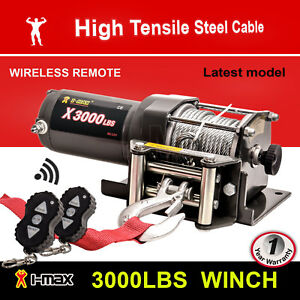 Wireless-3000LBS-1360KG-12V-Electric-Steel-Cable-Winch-Boat-ATV-4WD-Trailer