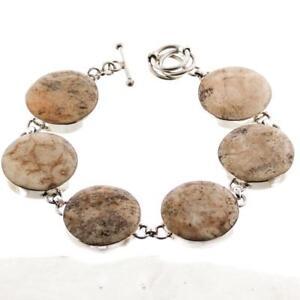 7-034-8-034-ROUND-NATURAL-SPONGE-CORAL-925-STERLING-SILVER-bracelet