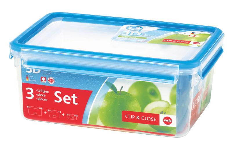 Emsa Clip&Close 3D Perf Clean Pote para Mantener Fresco Latas de Reserva 3er