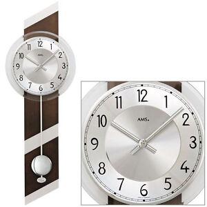 AMS Quarz 7415/1 Pendel Wanduhr Uhren Nussbaum Holzgehäuse ...