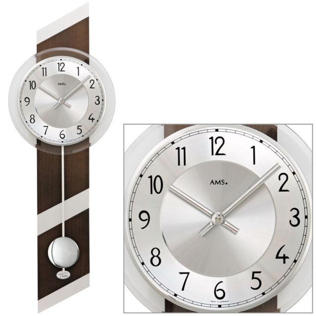 AMS Quarz 7415/1 Pendel Wanduhr Uhren Nussbaum Holzgehäuse Wohnzimmer Esszimmer