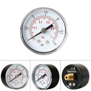 Pressure Gauge 40mm 1//8 BSPT Rear Back 15-300 PSI /& Bar for  Air Gas Wate Fuel