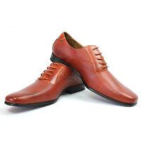 Mens Ferro Aldo Brown Herringbone Dress Shoes Leather Snipe Toe Oxfords