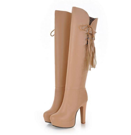 Bottines bottes cuisse femme compensé talon 12 cm élégant confortable beige 9084