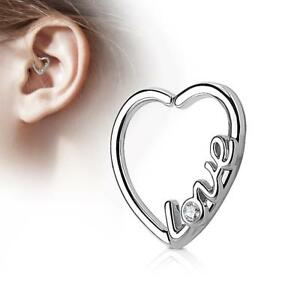 Silver-Ion-Plated-16-Gauge-034-LOVE-034-Heart-Ear-Cartilage-Daith-Hoop-Ring