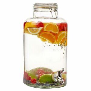 8L Litre Glass Beverage Drinks Dispenser Jug Jar Lid Juice Cocktail BBQ Party